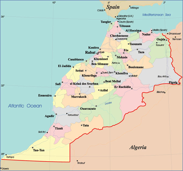 Detailed administrative map of Morocco with cities.