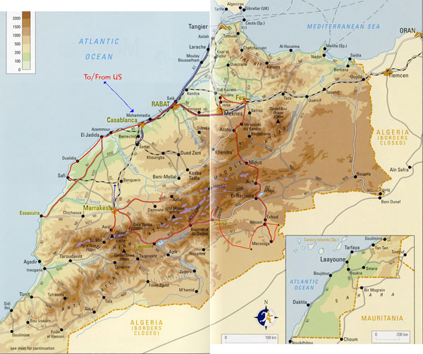 Detailed physical map of Morocco with roads. Morocco detailed physical map with roads.