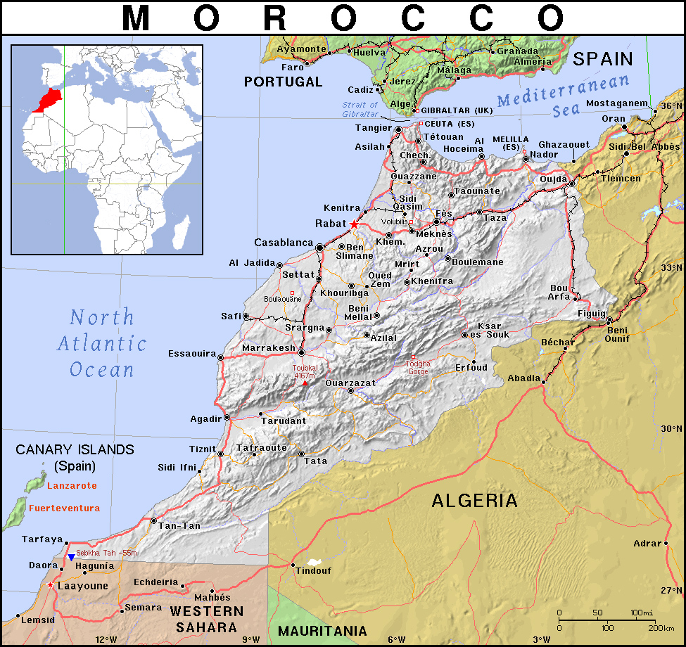 Detailed political map of Morocco with relief roads and cities