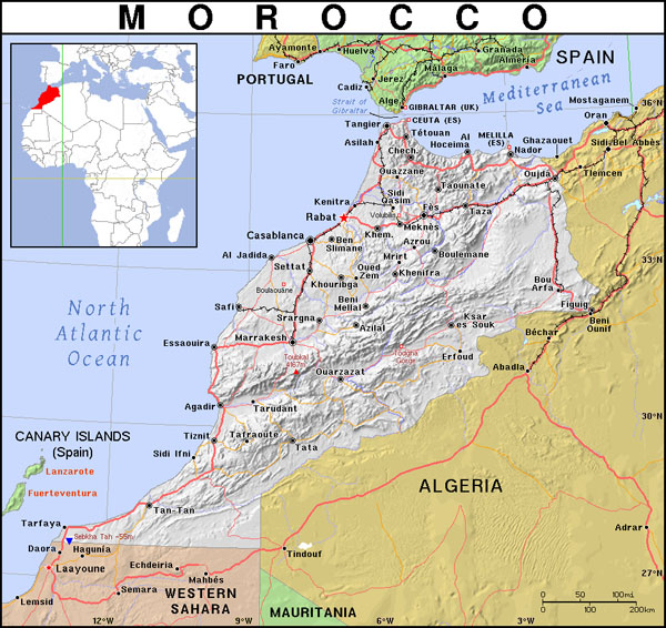 Detailed political map of Morocco with relief, roads and cities.