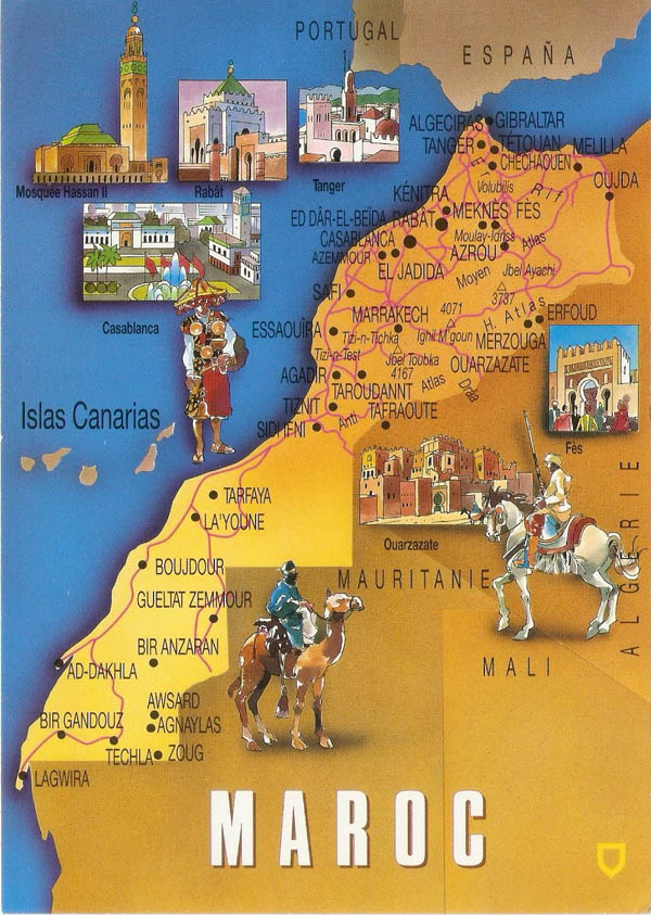 Detailed postcard map of Morocco. Morocco detailed postcard map.