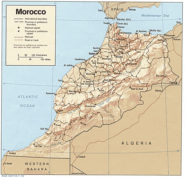 Detailed relief and political map of Morocco. Morocco detailed relief and political map.