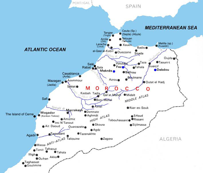 Detailed river map of Morocco Morocco detailed river map – Morocco Tourist Map
