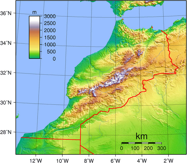 Detailed topographical map of Morocco. Morocco detailed topographical map.