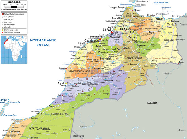 Full political map of Morocco. Morocco full political map.