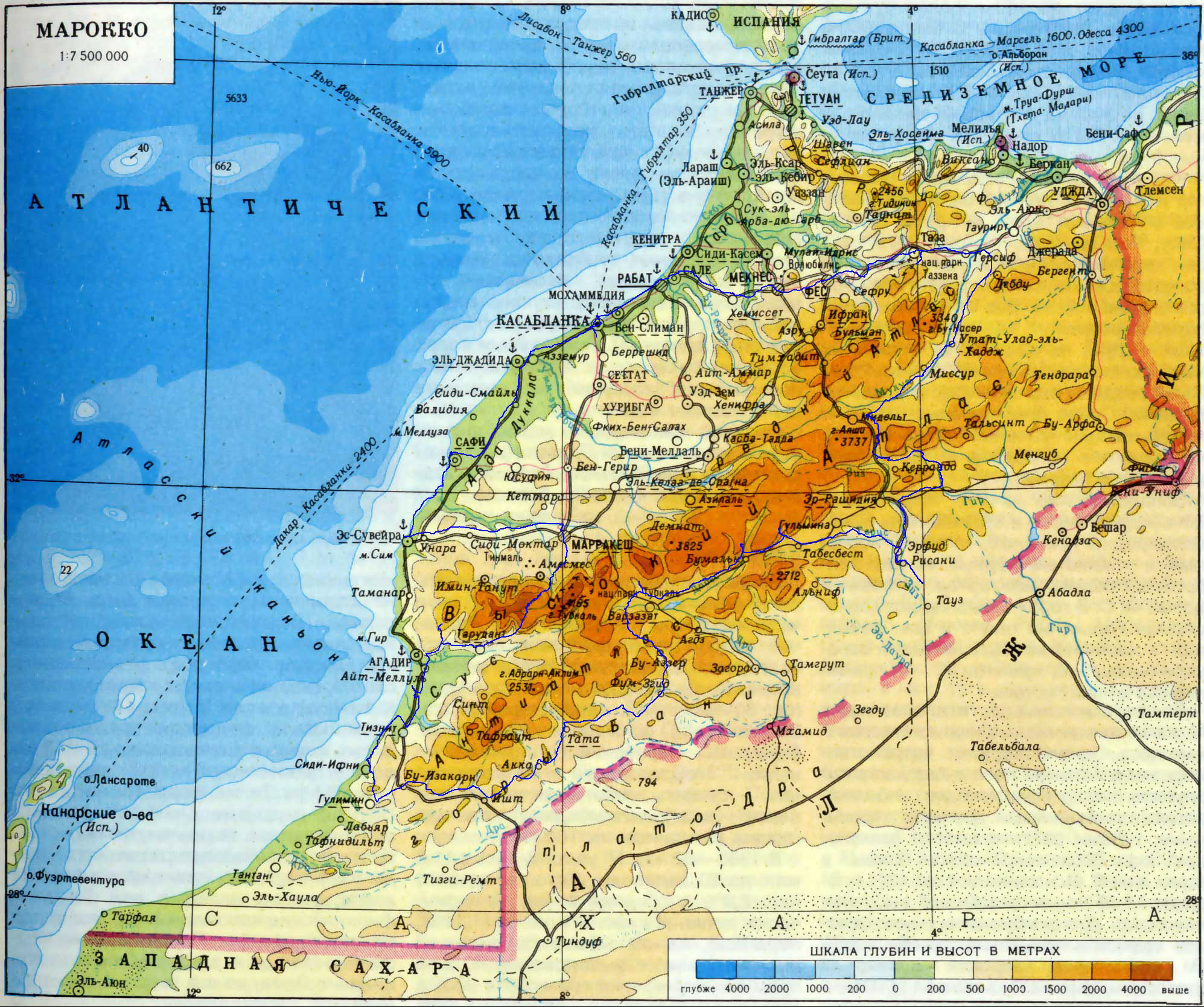 Large detailed physical map of Morocco with roads and cities in – Morocco Tourist Map