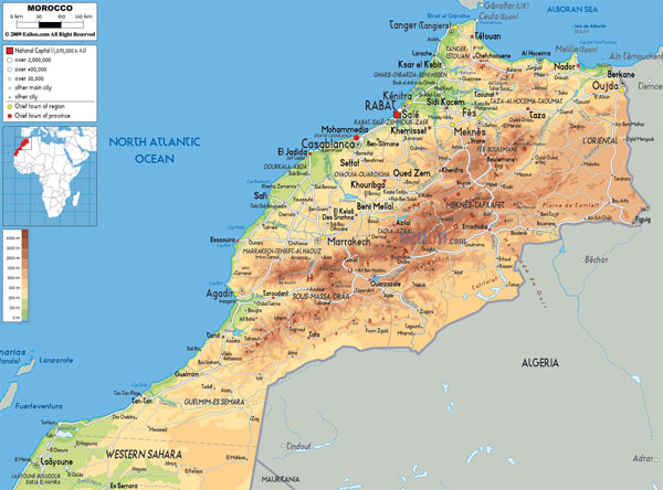 Large detailed physical map of Morocco with roads, cities and airports.
