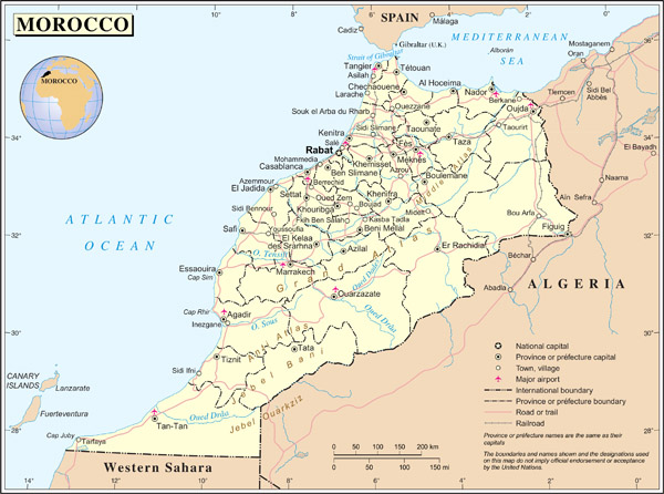 Large detailed political and administrative map of Morocco with all cities, roads and airports.