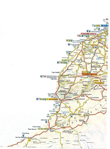 Large detailed road map of Morocco.