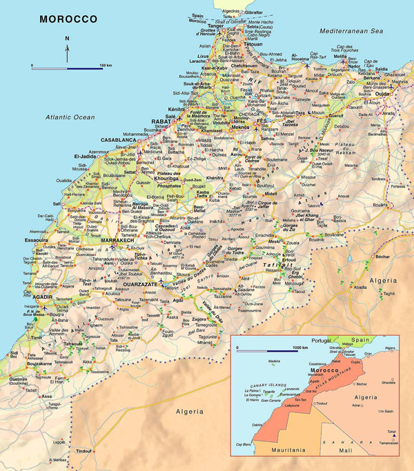 Large detailed road map of Morocco with airports.