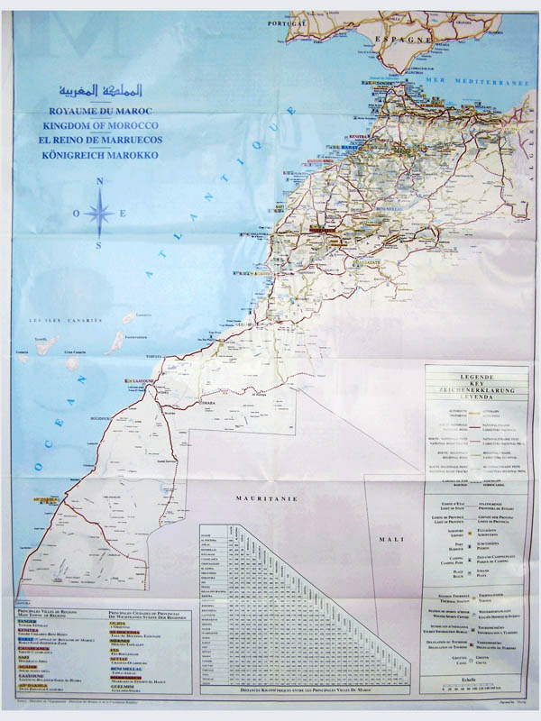 Large road map of Morocco. Morocco large road map.