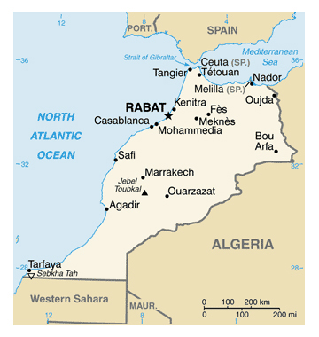 Map of Morocco. Morocco map.