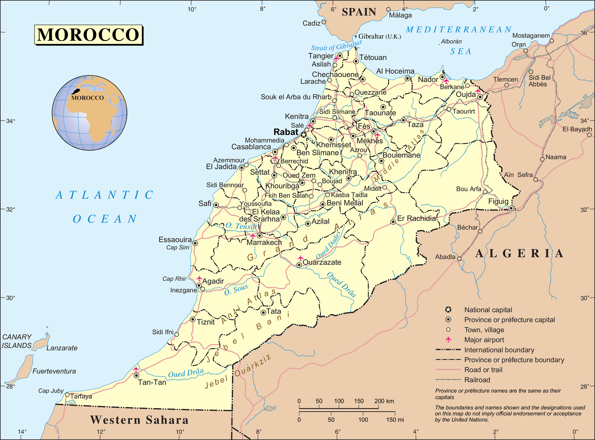 Political And Administrative Map Of Morocco Morocco Political And Administrative Map Vidiani Com Maps Of All Countries In One Place