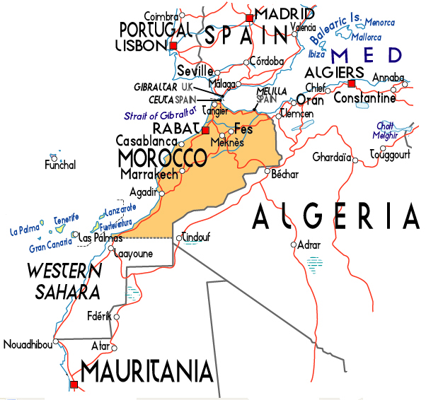 Political map of Morocco. Morocco political map.