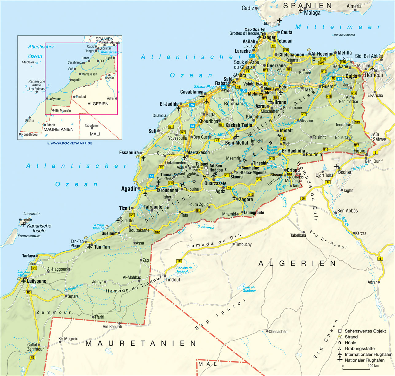 Road map of Morocco with relief cities and airports Vidianicom