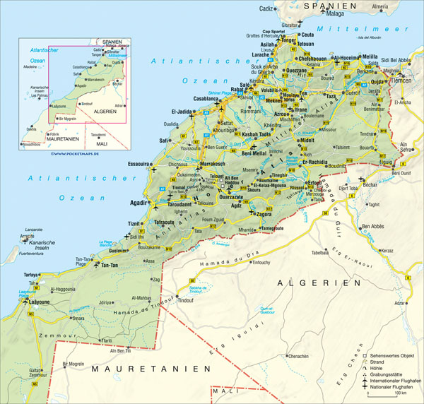 Road map of Morocco with relief, cities and airports.