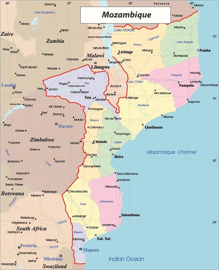Detailed administrative map of Mozambique Mozambique detailed