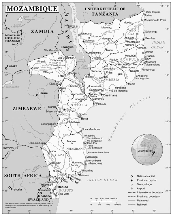 Detailed political map of Mozambique. Mozambique detailed political map.