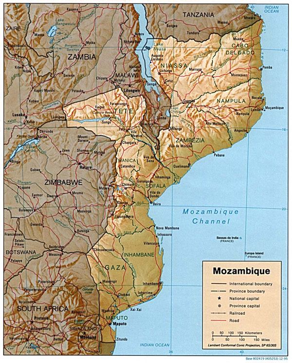 Detailed relief and political map of Mozambique. Mozambique detailed relief and political map.