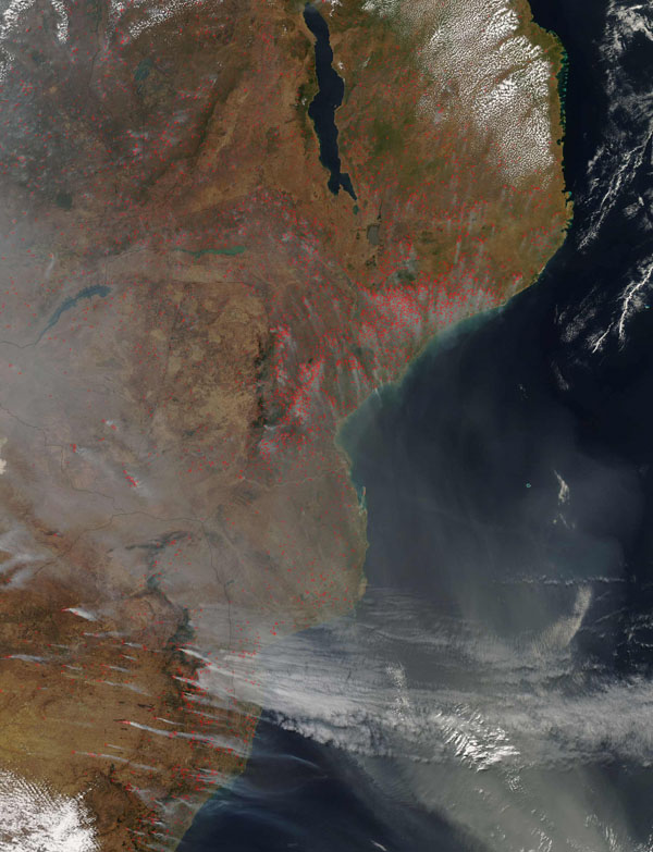 Detailed satellite map of Mozambique. Mozambique detailed satellite map.