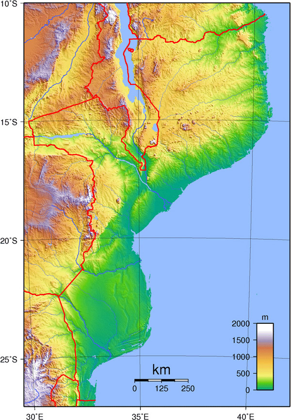 Detailed topographical map of Mozambique. Mozambique detailed topographical map.