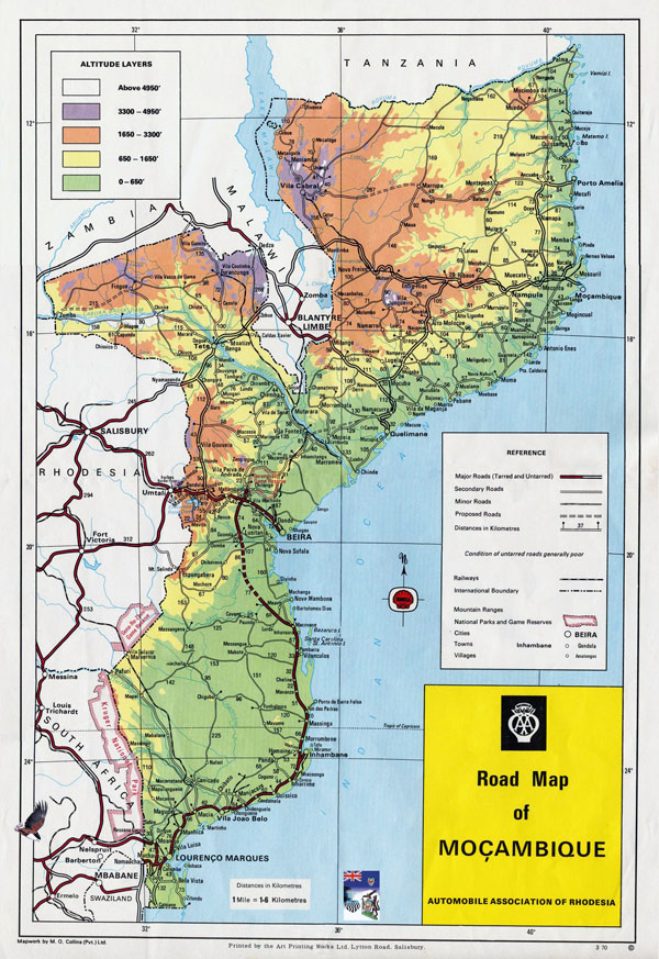 Large detailed road and physical map of Mozambique.