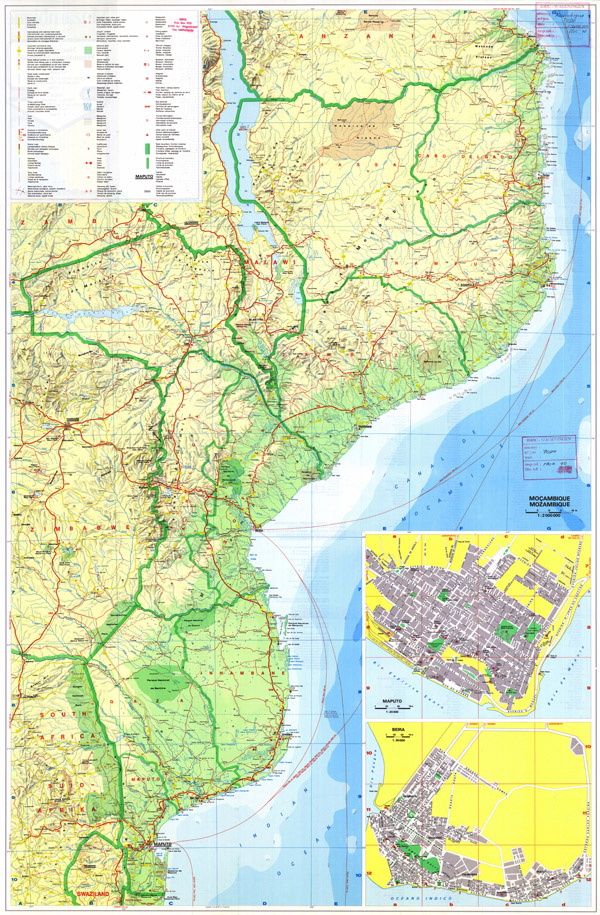 Large detailed road and topographical map of Mozambique with all cities.