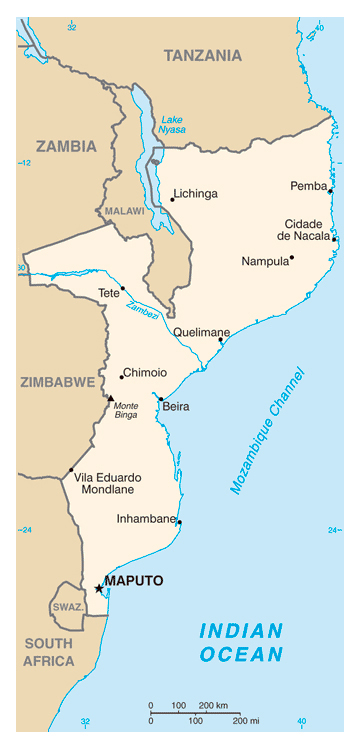 Map of Mozambique. Mozambique map.