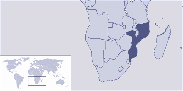 Mozambique detailed location map. Detailed location map of Mozambique.