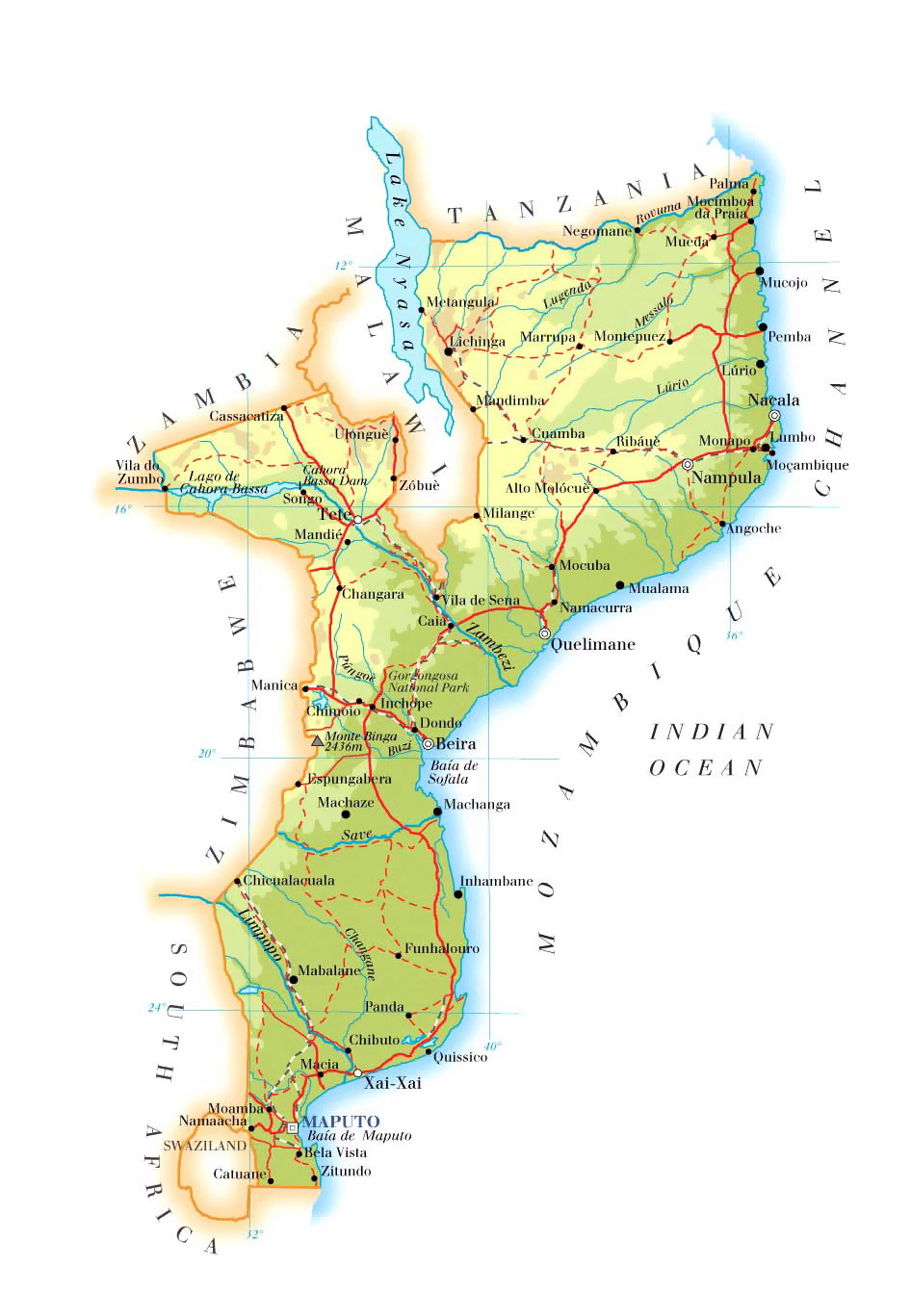 Physical and road map of Mozambique Mozambique physical and road