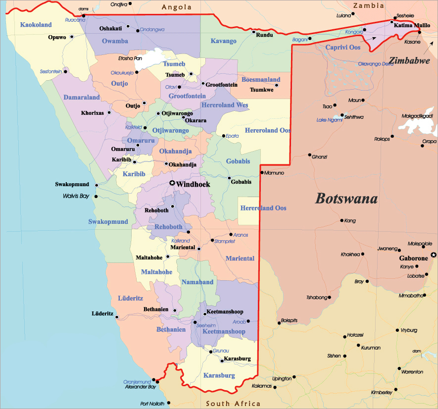 Detailed administrative map of Namibia with all cities and highways