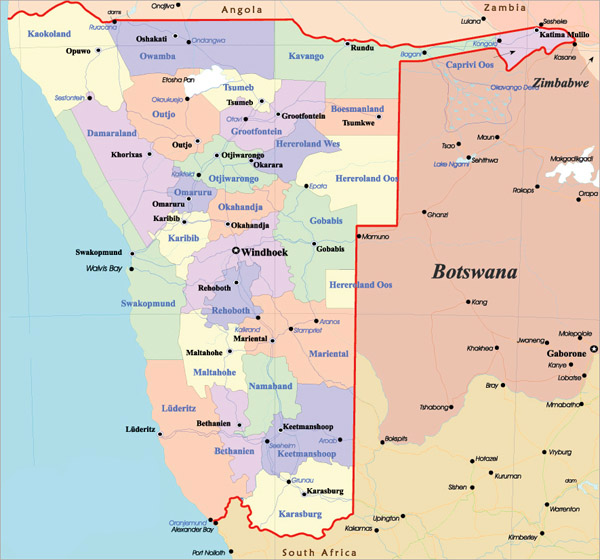 Detailed administrative map of Namibia with all cities and highways.