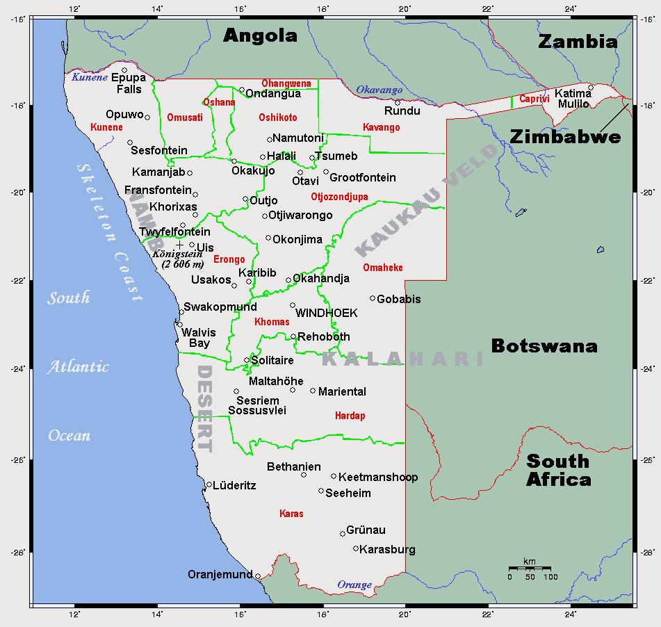 Detailed map of Namibia. Namibia detailed map | Vidiani.com | Maps ...