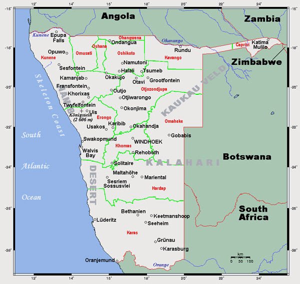 Detailed map of Namibia. Namibia detailed map.
