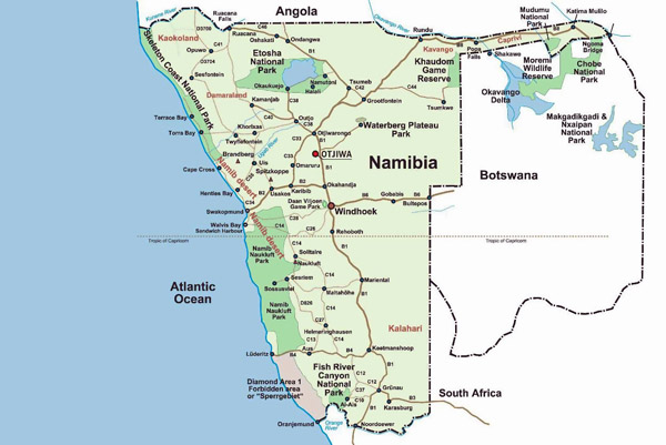 Detailed national parks map of Namibia and Botswana.