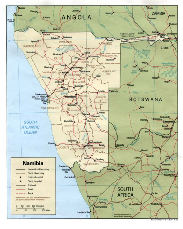 Detailed political and administrative map of Namibia.