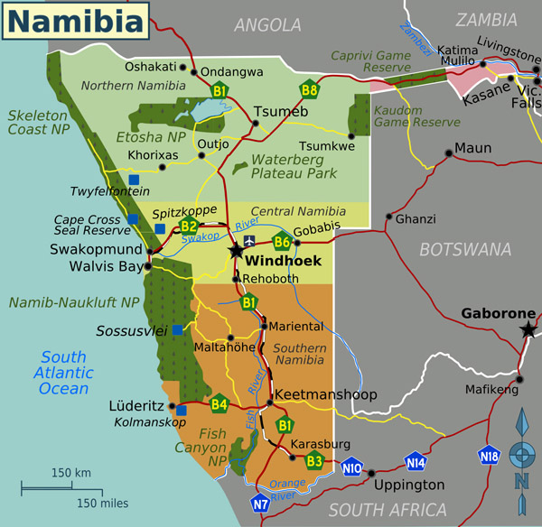 Detailed political map of Namibia with all cities and highways.
