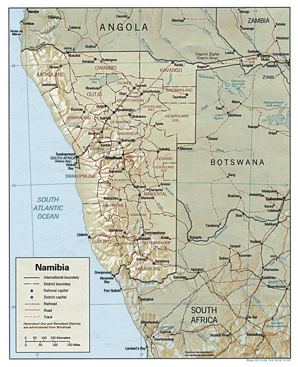 Detailed relief and administrative map of Namibia.