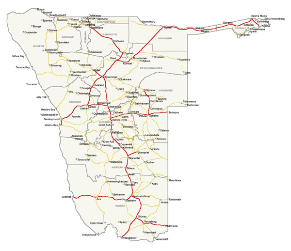 Detailed simplified roads map of Namibia. Namibia detailed simplified roads map.