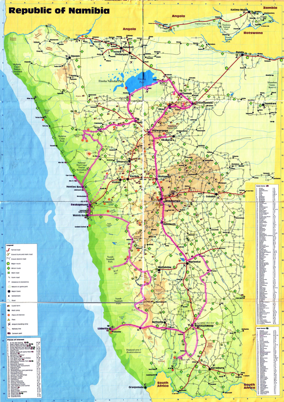 Large detailed travel map of Namibia Namibia large detailed travel