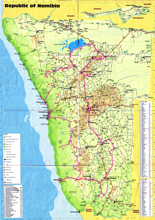 Large detailed travel map of Namibia. Namibia large detailed travel map.