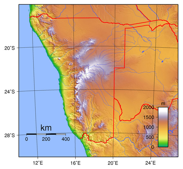 Physical map of Namibia. Namibia physical map.