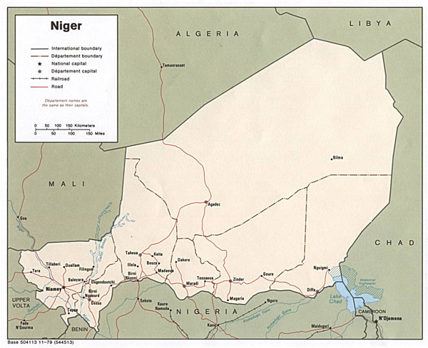 Detailed administrative map of Niger. Niger detailed administrative map.