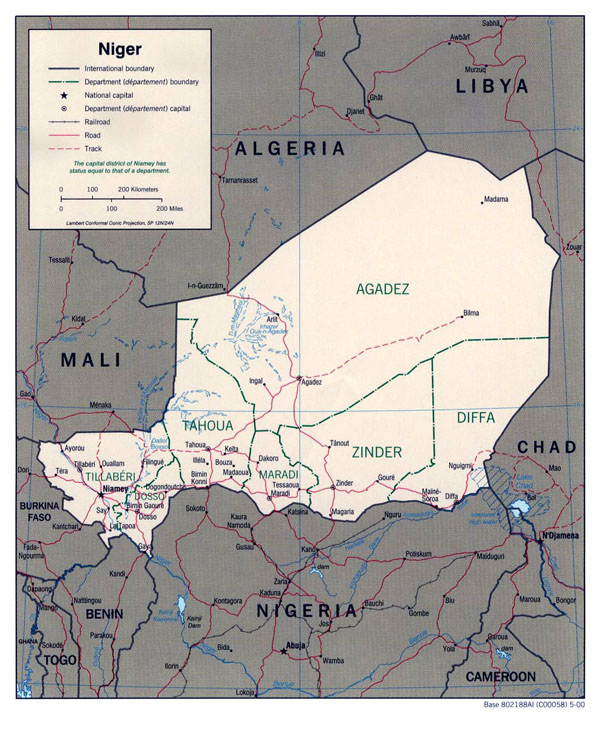 Detailed political and administrative map of Niger.