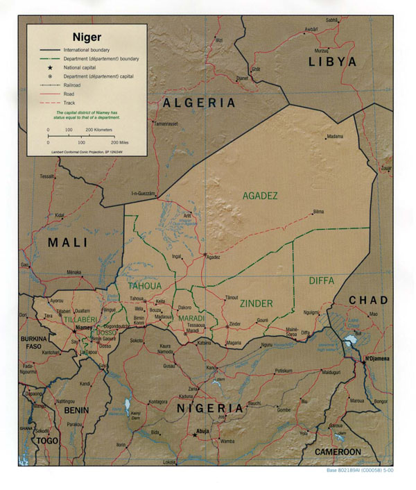 Detailed relief and political map of Niger. Niger detailed relief and political map.