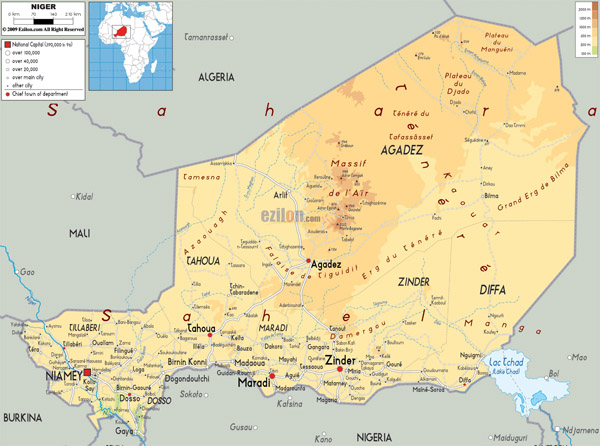Large detailed physical map of Niger with all cities, roads and airports.