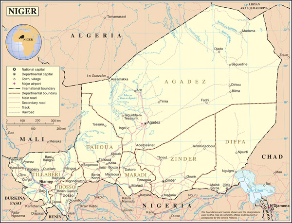 Large detailed political and administrative map of Niger with all cities, roads and airports.