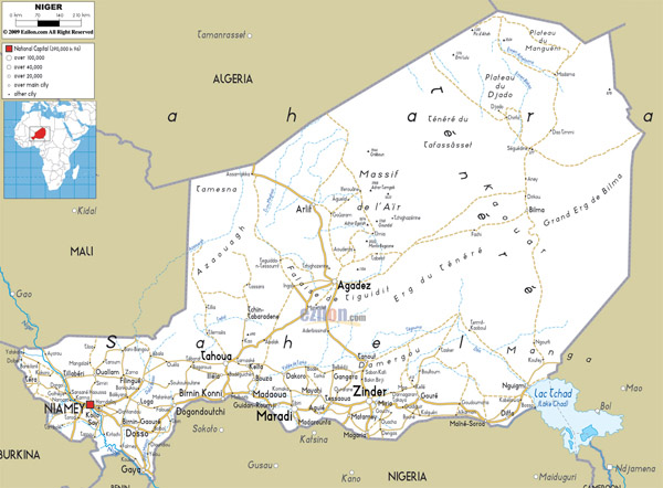 Large detailed road map of Niger with all cities and airports.