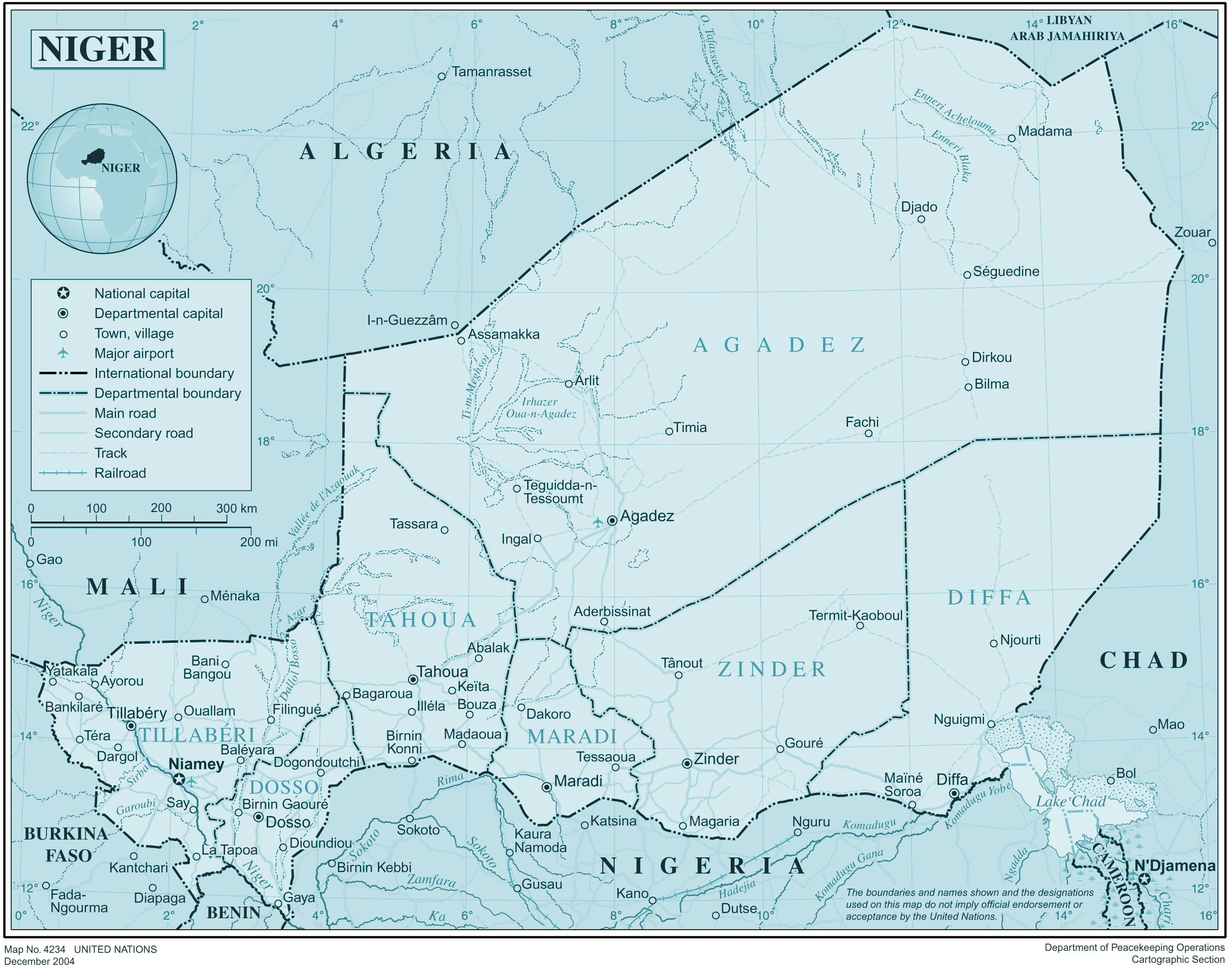 Large detailed political and administrative map of Niger Niger