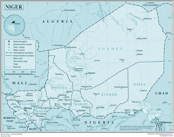 Large detailed political and administrative map of Niger.